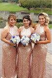 Shiny Rose Gold Sequin High Neck Mermaid Long Bridesmaid Dresses Formal Prom Dress LD1201