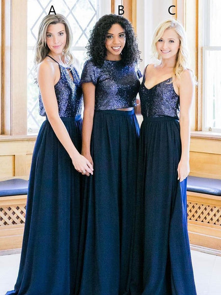 Navy Blue Sequin Chiffon 2 Pieces A Line Floor Length Bridesmaid Dresses Prom Dress LD1202