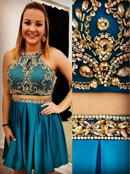 Chic Two Pieces Halter Backless Green Beaded Homecoming Dresses Short Prom Dress LD1202