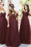 Elegant Off the Shoulder A Line Dark Burgundy Tulle Bridesmaid Dresses Prom Dress LD1203
