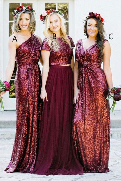 Burgundy Sequin Bridesmaid Dresses One Shoulder Long Bridesmaid Dress Prom Dress LD1204