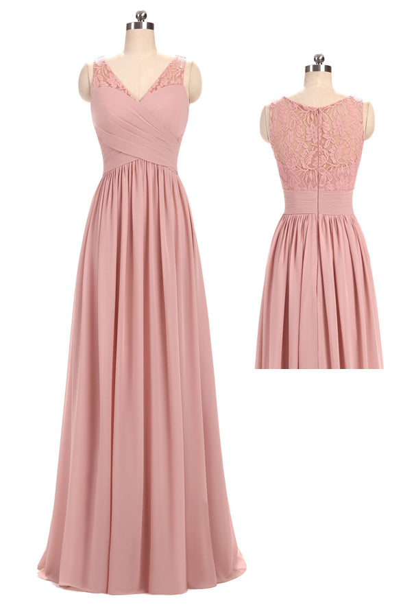 Real Picture A Line Chiffon V Neck Lace Sleeveless Bridesmaid Dresses Prom Dress LD1205