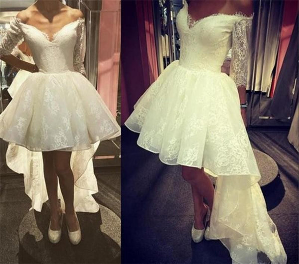 Fashion Ivory Lace 3/4 Long Sleeves Front Short Long Back Homecoming Dresses Prom Dress LD1205