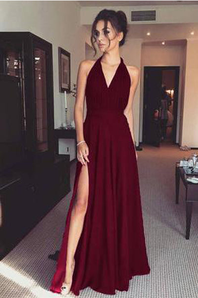 Elegant Burgundy Chiffon Halter V Neck Cheap Split Prom Dresses Long Evening Formal Dress LD1207