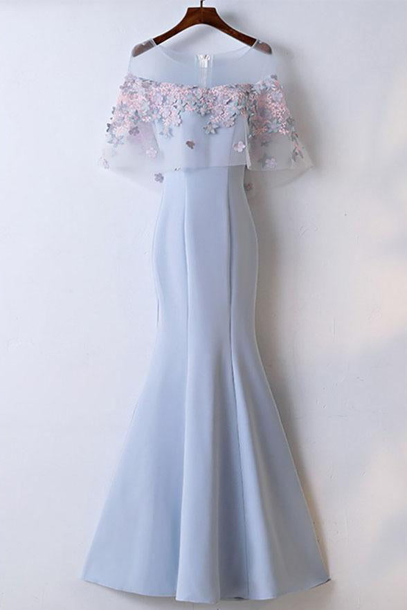 Fashion Appliques Flowers Light Blue Mermaid Prom Dresses Long Evening Formal Dress LD1208