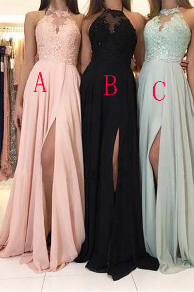 High Neck Lace Appliques Blush Pink Front Split Long Bridesmaid Dresses Halter Prom Dress LD1209