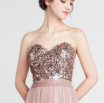 A Line Sequin Blush Pink Sweetheart Long Cheap Bridesmaid Dresses Prom Formal Dress LD1210
