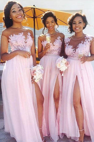 Front Split Cap Sleeves Pink Lace Appliques Long Bridesmaid Dresses Prom Formal Dress LD1212