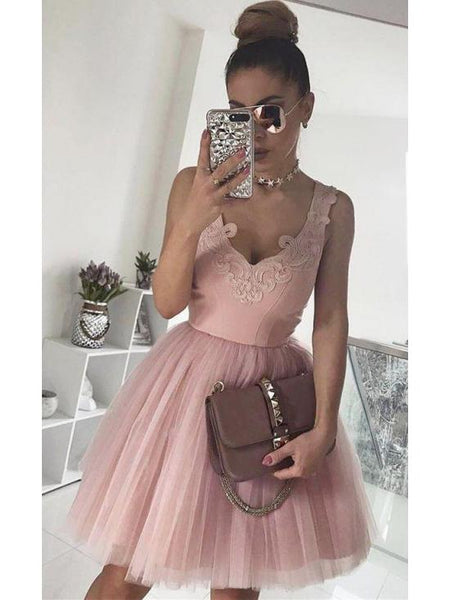 Pink Homecoming Dresses Off the Shoulder Appliques Short Prom Graduation Dress LD1214