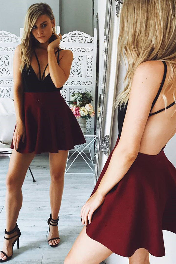 Sexy Burgundy Backless Spaghetti Straps V Neck Short Homecoming Dresses Prom Dress Party LD1216