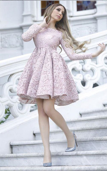 Long Sleeves Pink Lace Empire Waist Short Homecoming Dresses Prom Graduation Dress LD1219