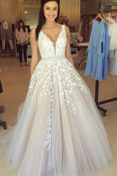 Hot Sales White Lace V Neck Beaded Ball Gown Evening Prom Dresses  LD121