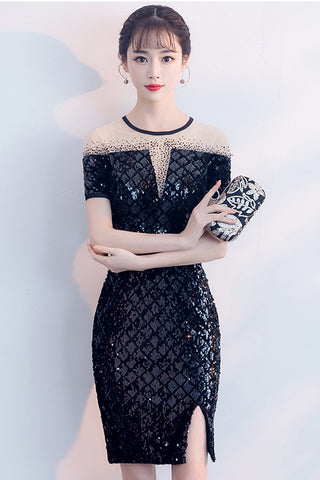 Chic Short Sleeves Black Sequin Mermaid Shiny Short Homecoming Dresses Prom Dress Party Gown LD1221