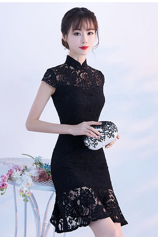 Cap Sleeves Black Lace Mermaid Stand Collar Short Homecoming Dresses Prom Dress LD1224