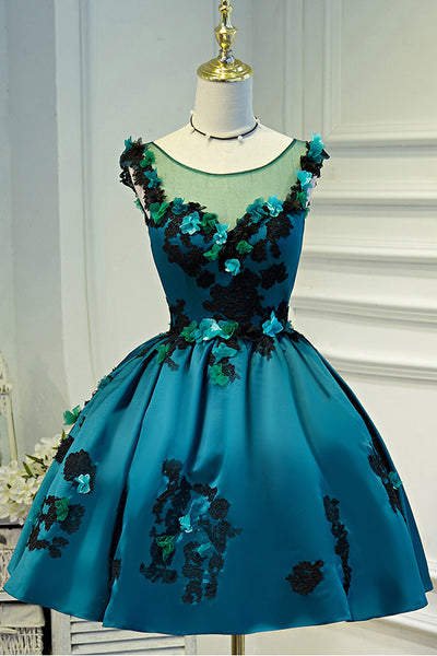 Lace Appliques Flowers Green Satin Ball Gown Homecoming Dresses Short Prom Dress LD1225