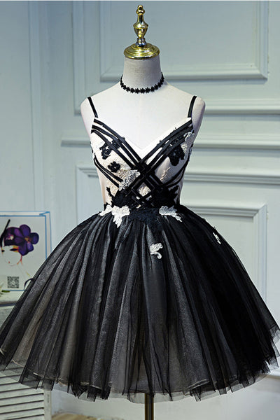 Spaghetti Straps Black Tulle Ball Gown Homecoming Dresses Short Prom Dress Party LD1226