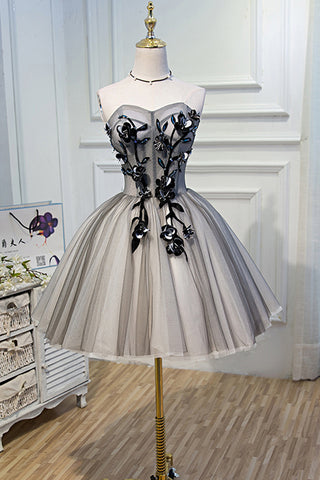 1ae38057a2c Strapless Grey Ivory Tulle Ball Gown Homecoming Dresses Appliques Short  Prom Dress Party LD1228