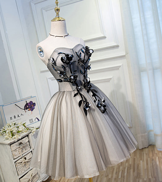 Strapless Grey Ivory Tulle Ball Gown Homecoming Dresses Appliques Short Prom Dress Party LD1228
