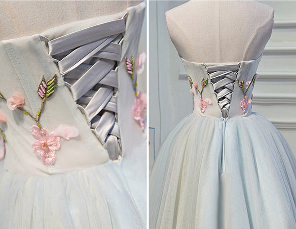 New Arrival Appliques Flowers Silver Homecoming Dresses Short Prom Dress Party Gown LD1229