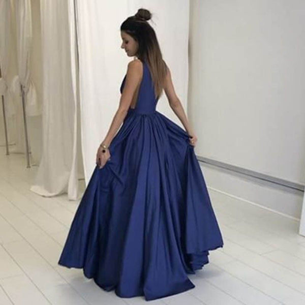 Deep V Neck Off the Shoulder Dark Blue Elegant Prom Dress Evening Gowns LD122