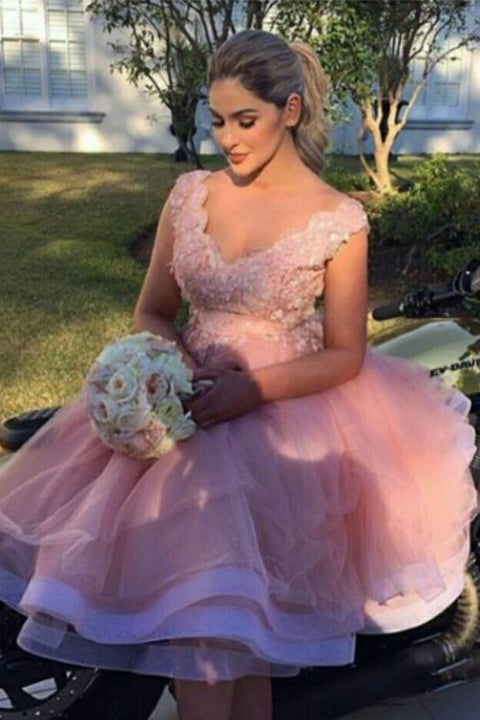 Blush Pink Appliques Empire Waist Plus Size Short Homecoming Dress Prom  Graduation Dresses LD1231 - US0 / Picture color