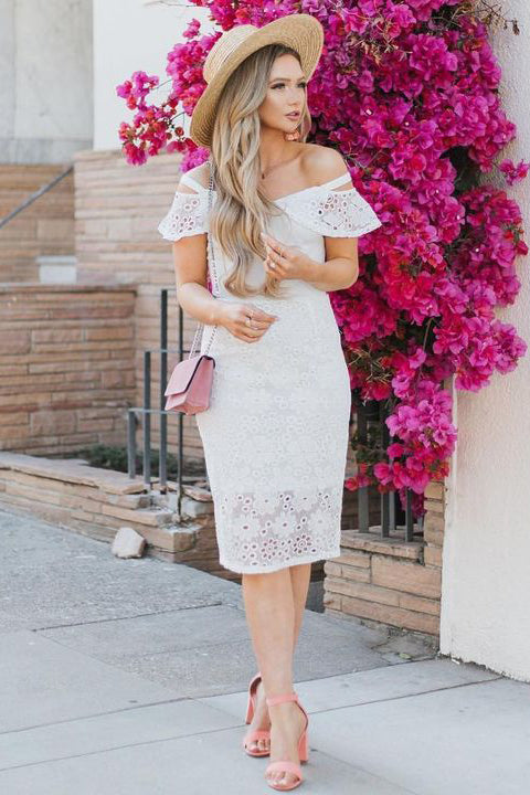 White Lace Off the Shoulder Mermaid Knee Length Homecoming Dress Prom Graduation Dresses LD1232