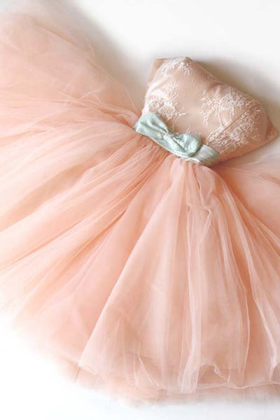 Blush Pink Homecoming Dresses,Strapless Lace Homecoming Dress,Short Prom Party Dress LD1236