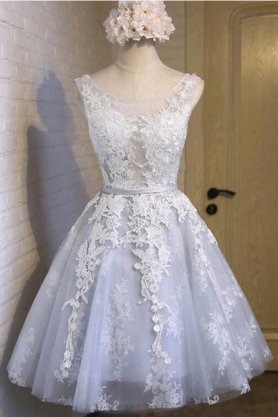 Real Photo Off the Shoulder Lace See Through Homecoming Dresses Short Prom Party Dress LD1237