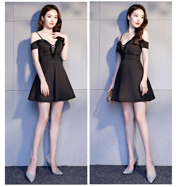 New Arrival Deep V Neck Spaghetti Straps Short Black Homecoming Dresses Prom Dress LD1243