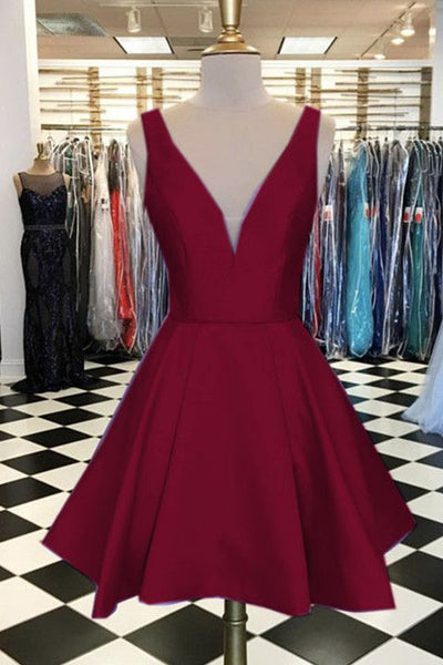 Simple V Neck Burgundy Satin Cheap Homecoming Dresses Short Graduation Prom Dress LD1244