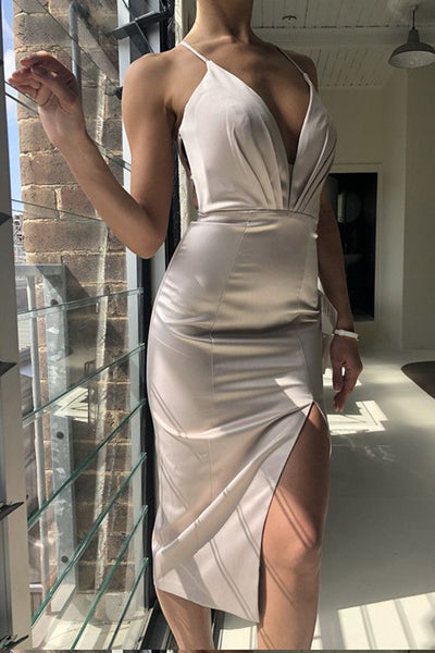 Sexy Deep V Neck Backless Mermaid Silver Front Split Short Homecoming Dresses Prom Dress LD1245