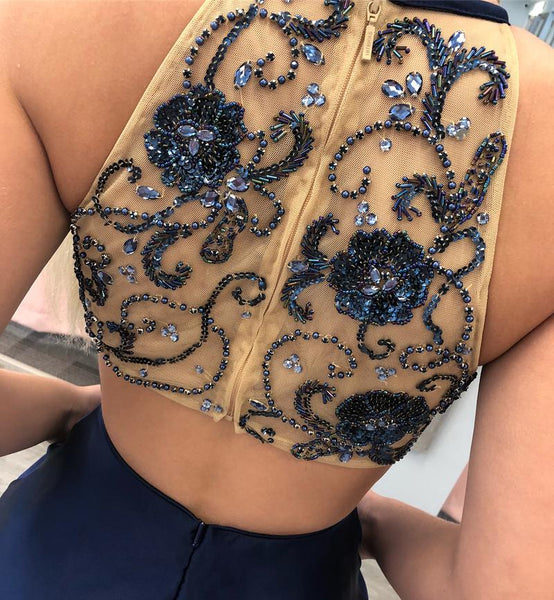 Fashion Open Back Navy Blue Beaded Short Homecoming Dresses Hoco Dress With Pocket LD1247