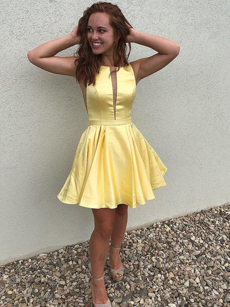New Arrival Deep V Neck Yellow Satin Cheap Homecoming Dresses Short Hoco Prom Dress LD1248