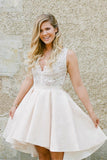 Front Short Long Back V Neck Ivory Lace Off The Shoulder Homecoming Dresses Wedding Prom Dress LD1249