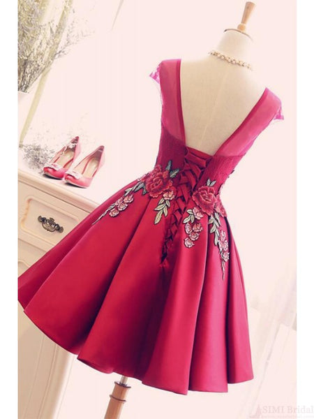 Cap Sleeves Open Back Burgundy Appliques Homecoming Dresses Short Prom Dress LD1251