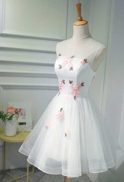 New Arrival White Tulle Pink Flowers Princess Homecoming Dresses Graduation Prom Dress LD1252