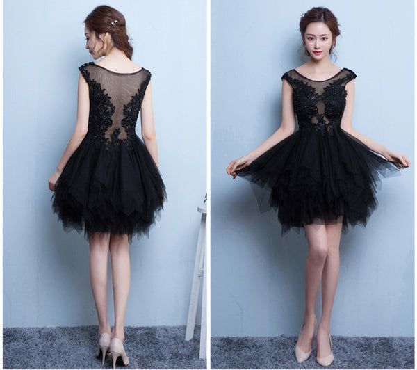 Fashion Cap Sleeves Black Lace Tulle High Low Skirt Homecoming Dresses Short Prom Dress LD1254