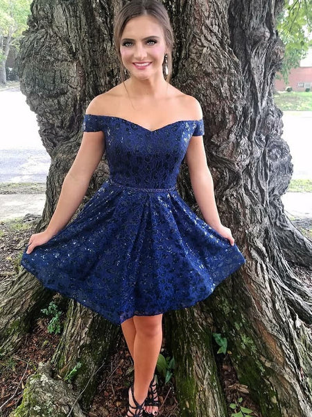 Sexy Off the Shoulder Dark Blue Lace Homecoming Dresses Short Hoco Prom Dress LD1256