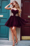 Chic Spaghetti Straps Lace Appliques Cheap Grape Homecoming Dress Short Hoco Prom Dresses LD1258
