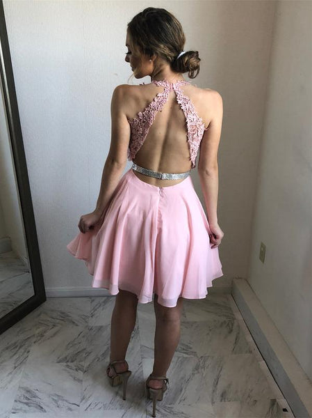 Charming Open Back V Neck Pink Lace Homecoming Dresses Short Graduation Prom Dress LD1260