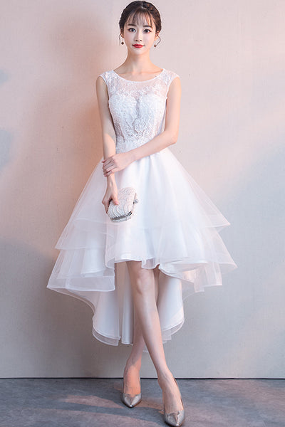 Front Short Long Back See Through White Lace Prom Dresses Graduation Homecoming Dress LD1261
