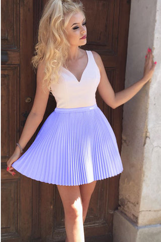 Charming See Through Back V Neck Ruffles Mini Homecoming Dresses Graduation Hoco Dress LD1263