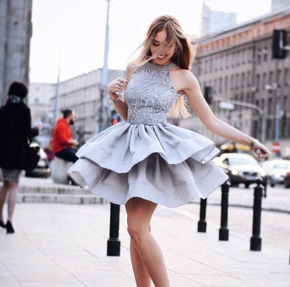 Fashion High Neck Beaded Grey Short Homecoming Dresses A Line Graduation Hoco Dress LD1264