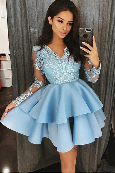 Long Sleeves Sky Blue Lace V Neck Short Homecoming Dresses Graduation Hoco Dress LD1265
