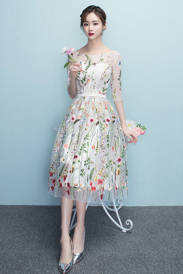 Embroidered Lace Dress with Sleeves