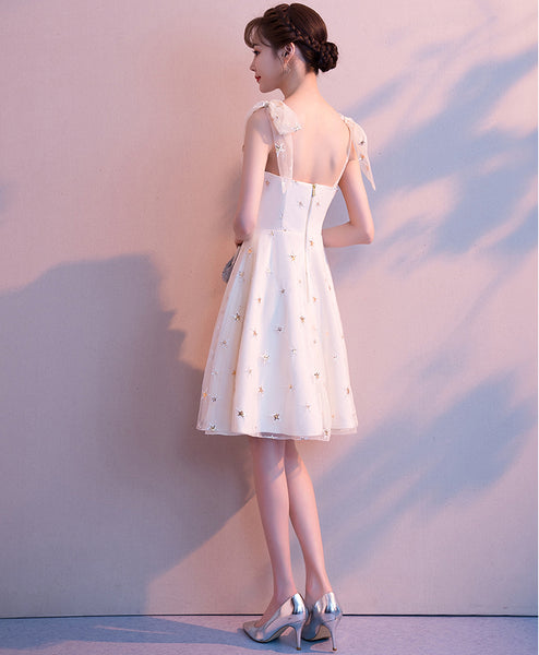 New Arrival A Line Princess Straps Bow Sequin Cheap Short Homecoming Dresses Prom Dress LD1268