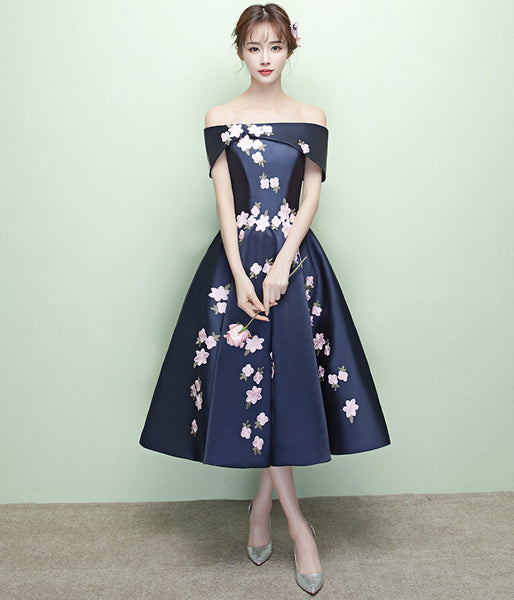 Tea Length Navy Blue Appliques Flowers Off the Shoulder Homecoming Dresses Prom Dress LD1270