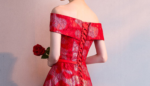 Red Lace Homecoming Dresses,Charming Off the Shoulder Homecoming Dress, Short Prom Dress LD1272