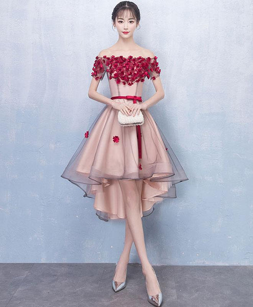 Burgundy Flowers Off the Shoulder Front Short Long Back Homecoming Dresses,Prom Hoco Dress LD1274