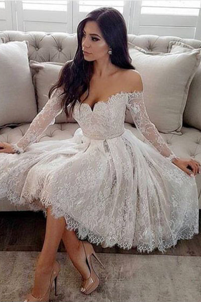 Off the Shoulder Long Sleeves Ivory Lace Homecoming Dresses, Knee Length Prom Hoco Dress LD1275